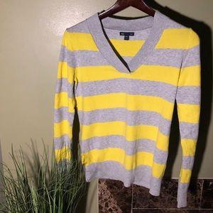 GAP Yellow & Gray Stripped Sweater